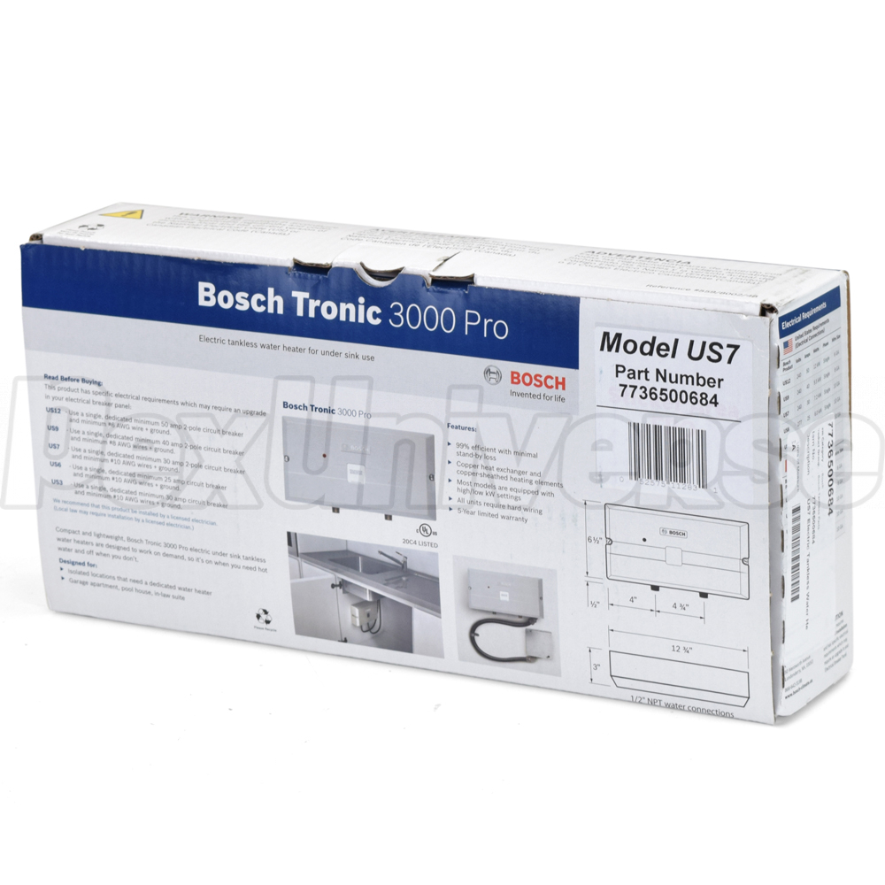 Bosch Us12 Tronic 3000 Electric Tankless Water Heater