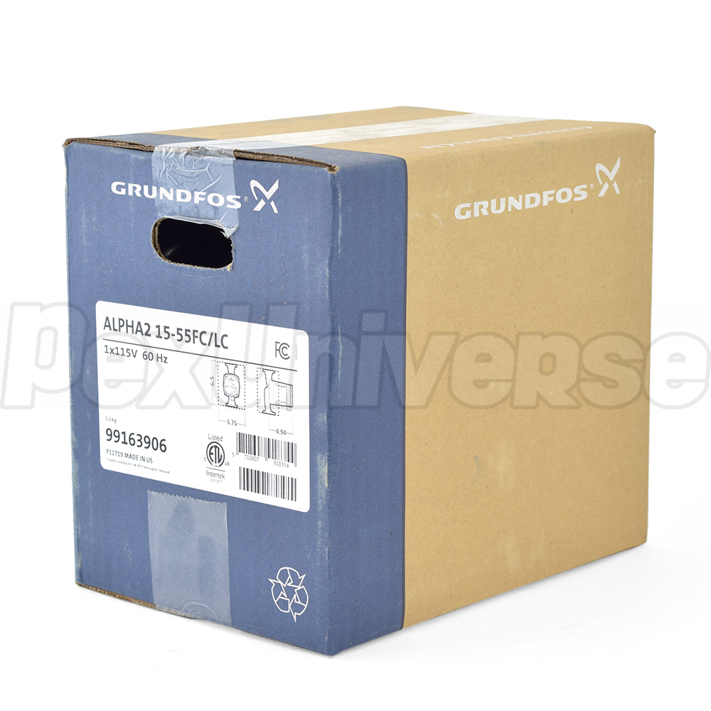 Grundfos Alpha2 15 55f Lc Circulator Pump Cast Iron 99163906 Taco Thermostat Wiring Heat Variable Speed W Ifc Line Cord 1 16 Hp 115v