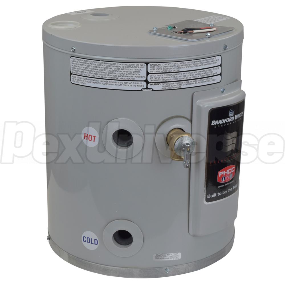 U Type Chrome Electric Water Heater Mixing Valve Single: Bradford White RE110U6-1NAL, Compact Electric Water Heater