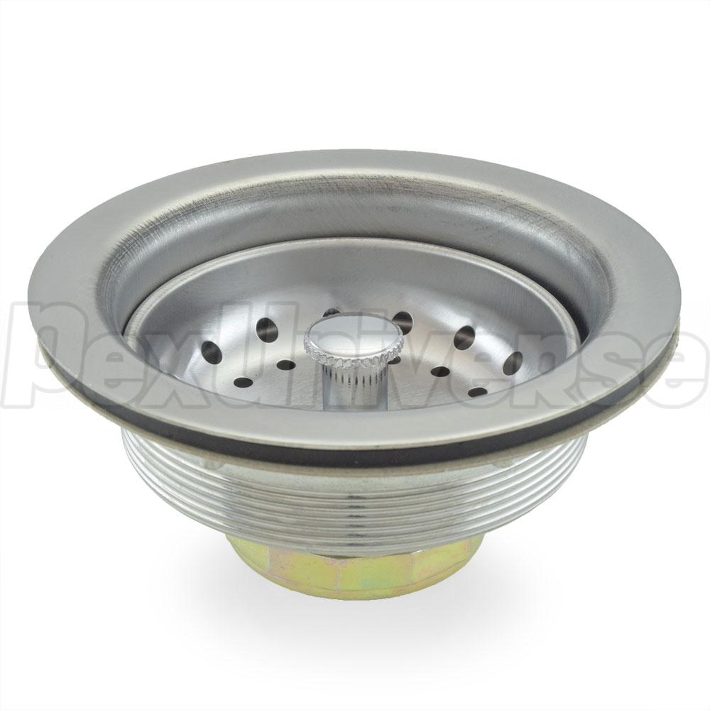 St steel kitchen sink drain strainer w fixed stick post basket