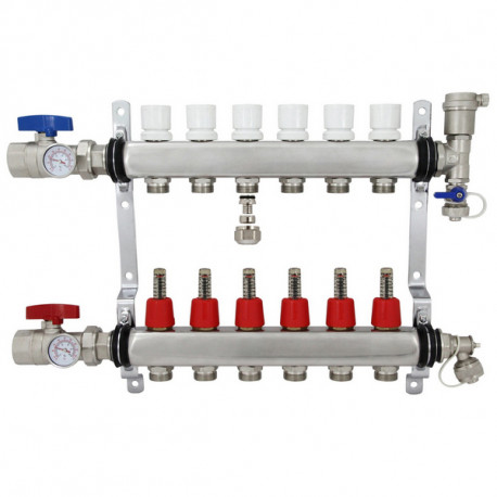 Chrome w// PEX adapters Radiant Floor Heat Manifold for PEX Pipe 3 Outlet